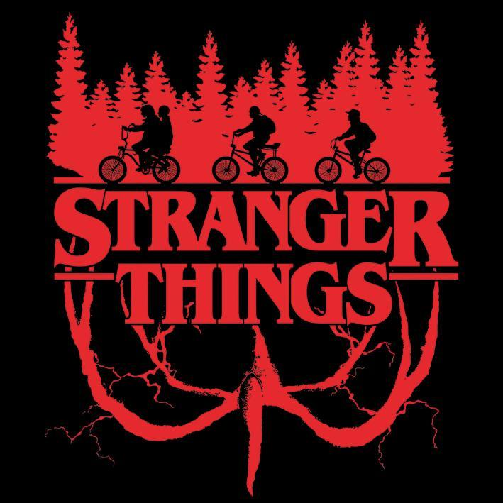 Stranger things logo and an illustration of the gang and the woods