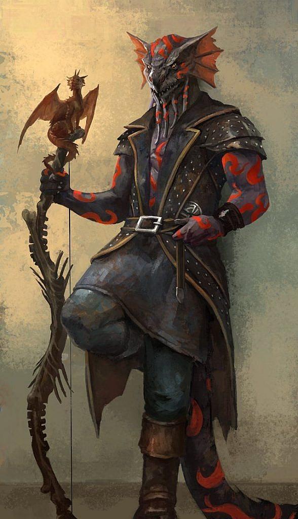 Fantasy character concept art lizard man