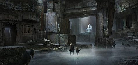 god of war concept art beneath the mountain