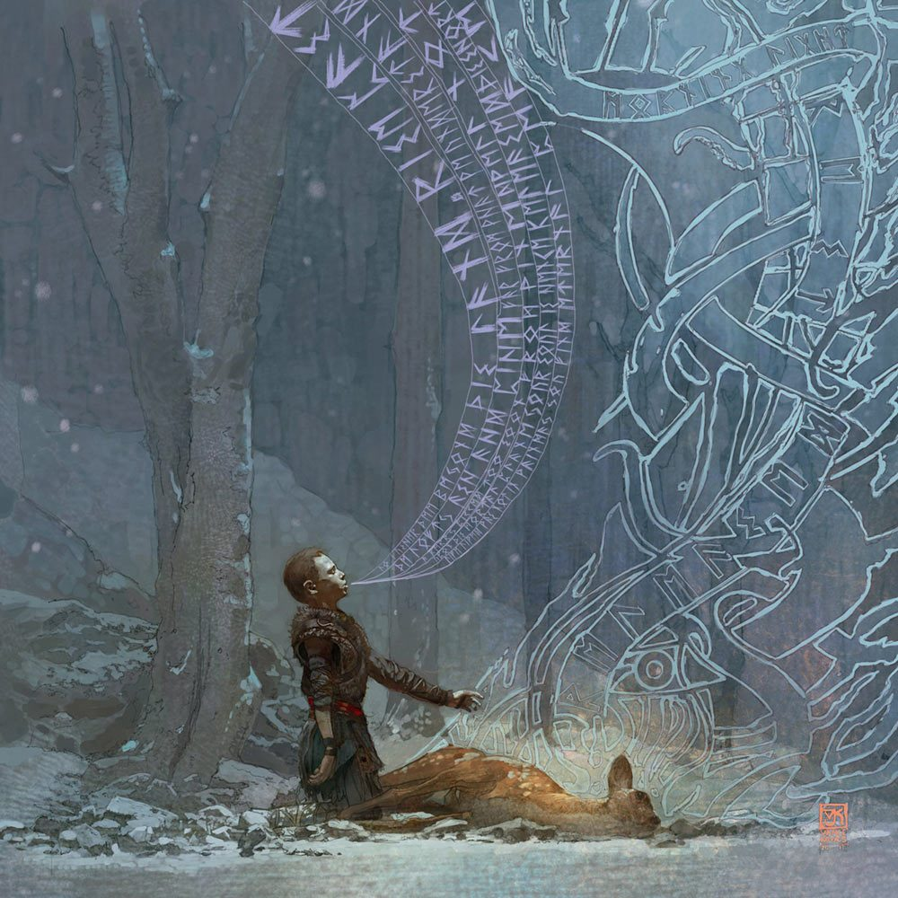 god of war concept art atreus and deer
