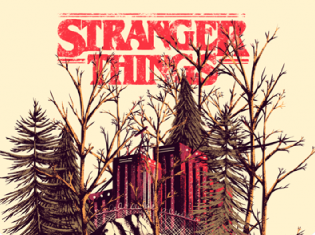 Stranger things logo and illustration of the woods