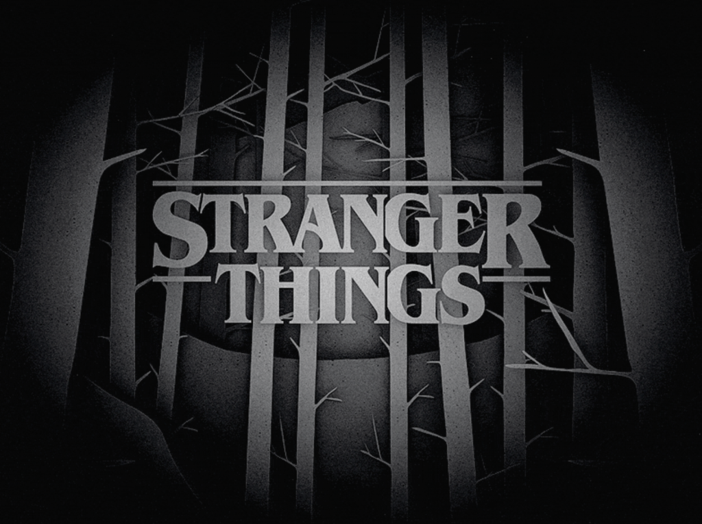 Stranger things black and white logo variation