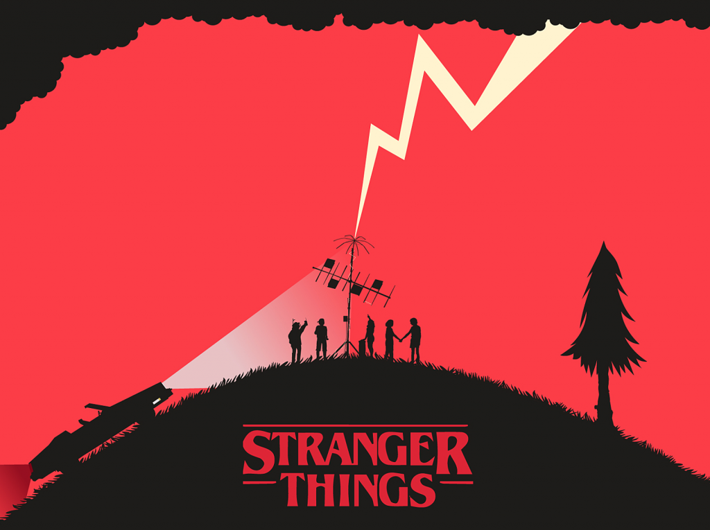 Stranger things kids on the hill illustration