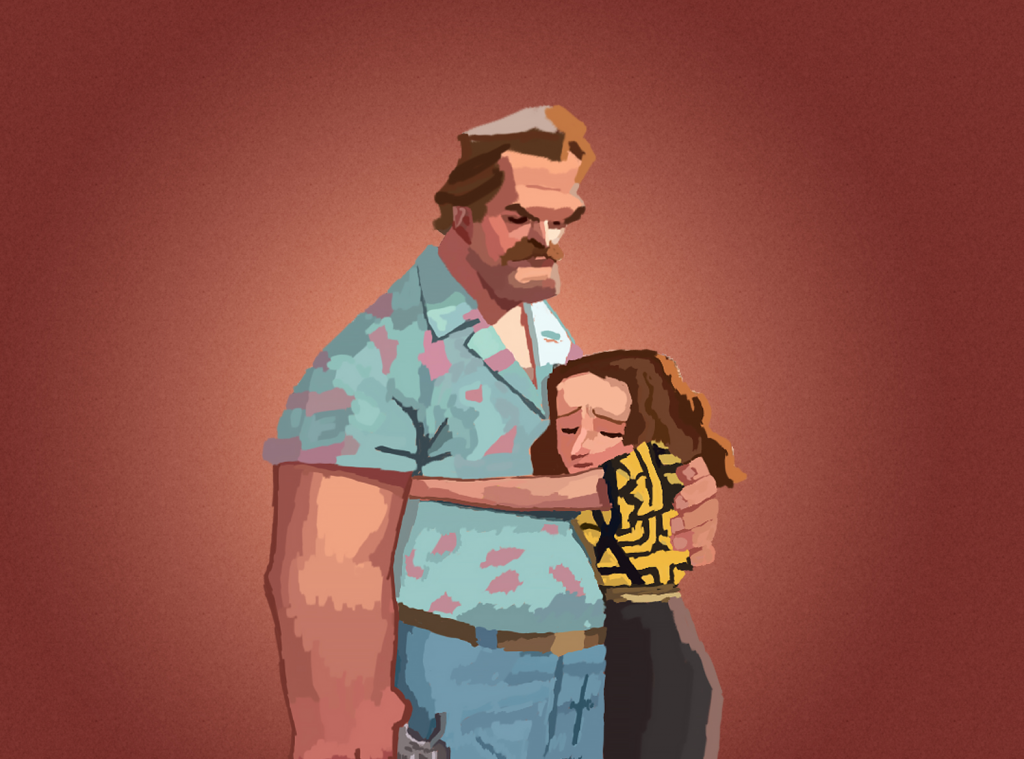 illustration of stranger things hopper and eleven