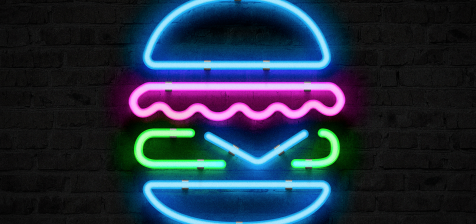 burger in neon effect