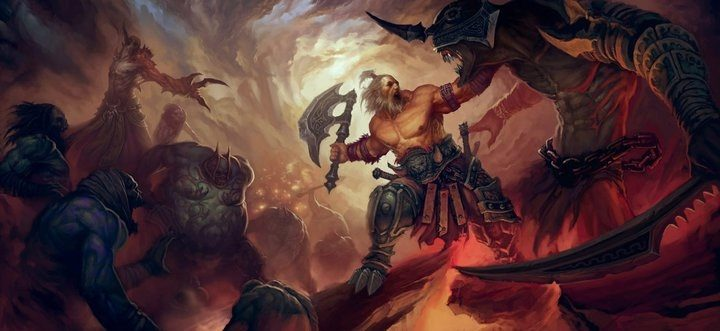diablo concept art barbarian vs. demons