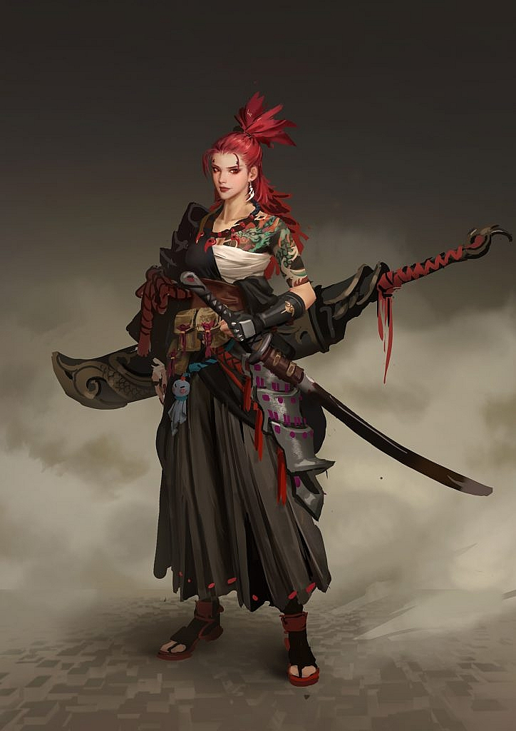 Fantasy character concept art chinese warrior