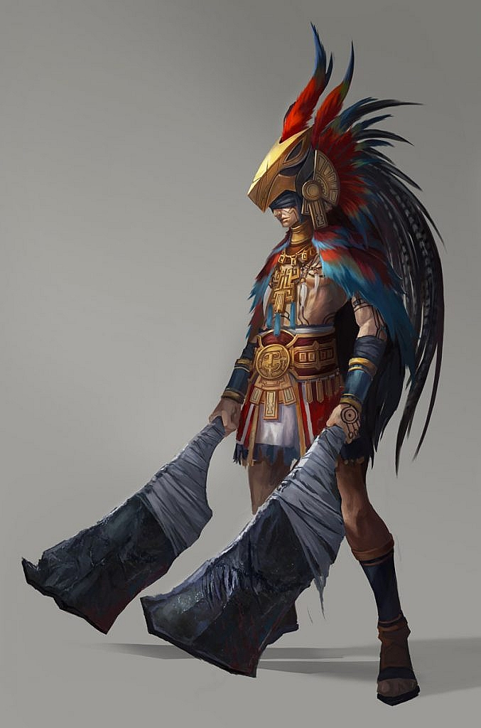 fantasy concept art aztec warrior
