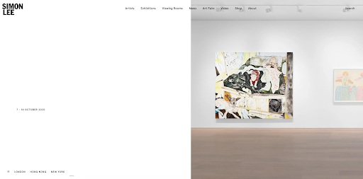 Simon Lee Gallery Art gallery website