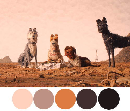 Vintage Color Palette pastel brown tones with dogs