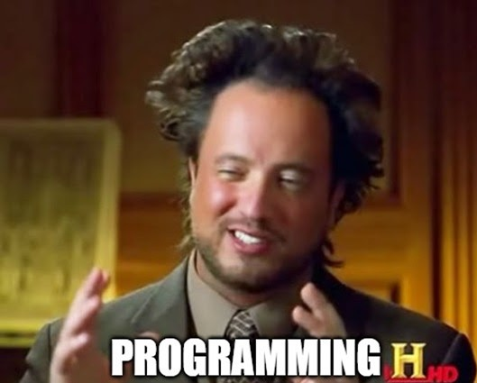 Meme about how programming is a complex business, promoting the ease of no-code development