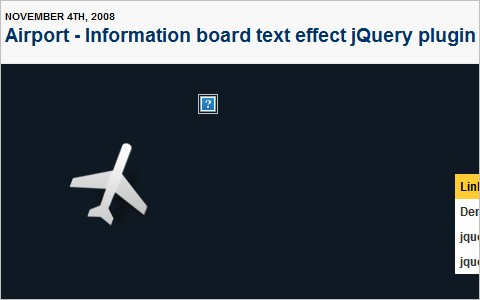 Airport - Information board text effect jQuery plugin