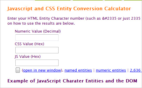 CSS & Javascript Character Entity Calculator