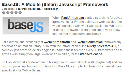 BaseJS: A Mobile (Safari) Javascript Framework