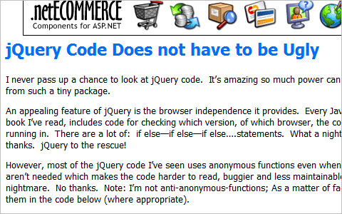 jQuery Code Does not have to be Ugly