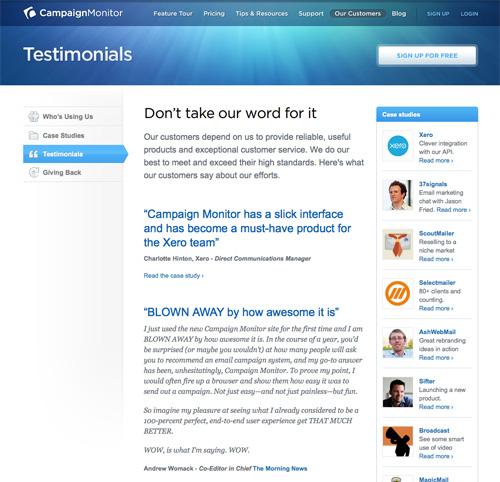Web Design Displaying Blocks Of Text