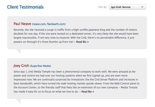 Website Design Testimonials Examples