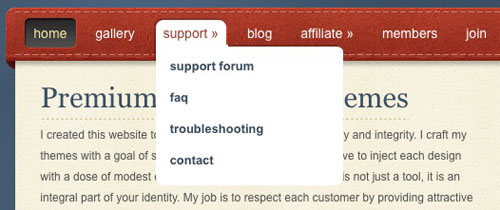elegant Themes Dropdown Navigation