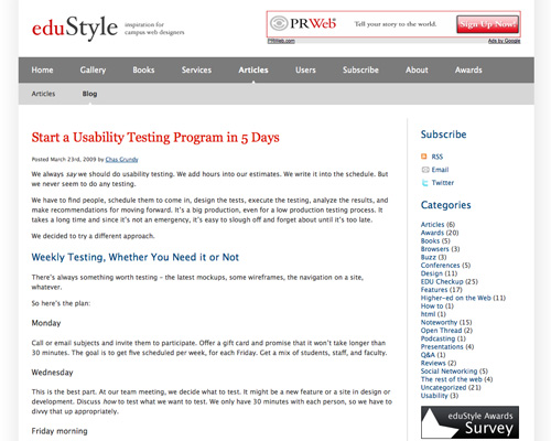 start a usability testing program in 5 days