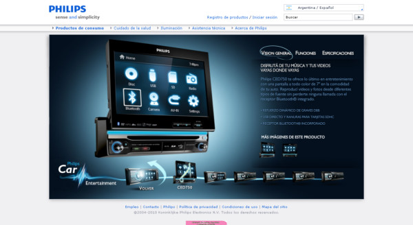Philips Argentina Car Entertainment On Showcase Of Web Design In  Argentina