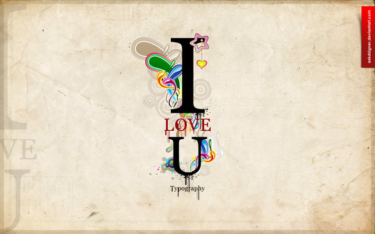 Wallpaper: askdzigner - Typography I LOVE U
