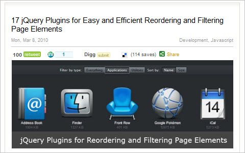 17 jQuery Plugins for Easy and Efficient Reordering and Filtering Page Elements