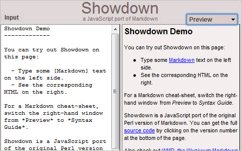 Showdown - Markdown in JavaScript