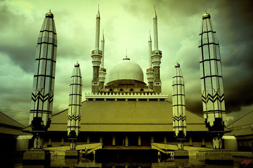Masjig Agung Great Mosque in Infrared Photography