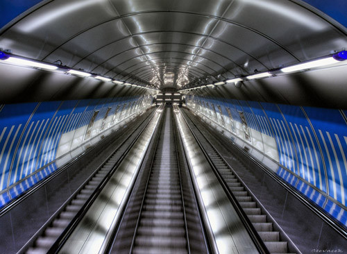 Escalator at Ladvi metro station in Infrared Photography