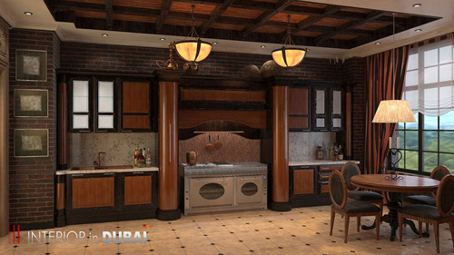 3d rendering interior design of kitchen