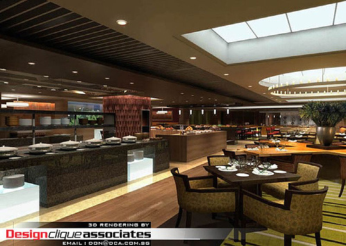 3D Restaurant Design Rendering