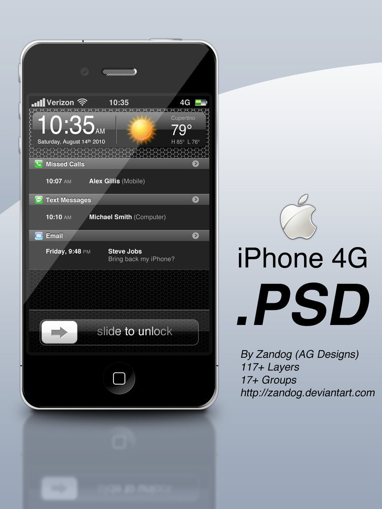 Apple iPhone 4G .PSD