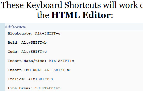 New WordPress Keyboard Shortcuts