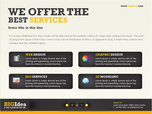 40 awesome keynote and powerpoint templates and resources noupe the bigidea template set comes in three different color schemes off white and gray with either yellow blue or green the set has bold typography and a toneelgroepblik Gallery