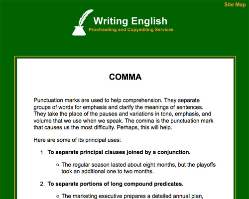 Comma Rules About proper comma usage.