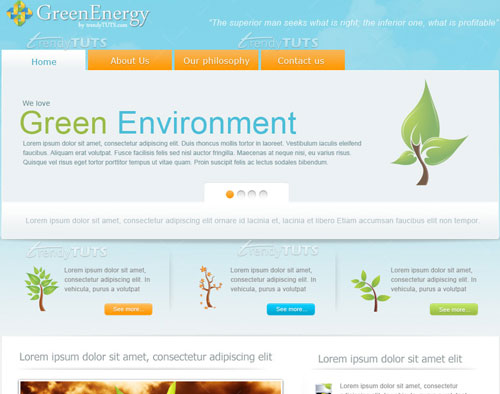 create-a green energy website in photoshop