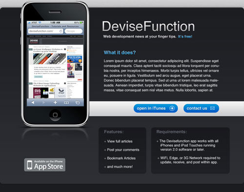 Simple iPhone Application Website Layout in Photoshop