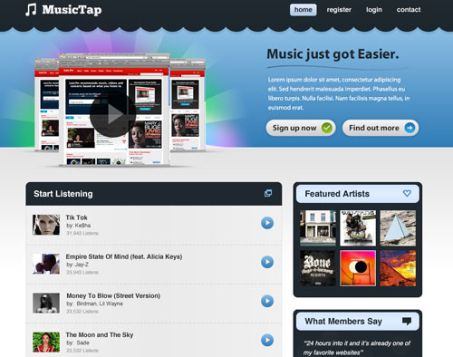 Beautiful Music Streaming Website Design in Photoshop