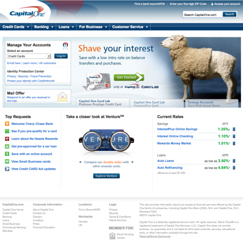 What color is your money showcase of bank websites worldwide noupe capitalone usa screenshot reheart Gallery