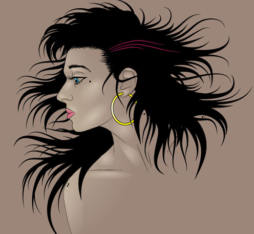 How to Illustrate Dynamic Hair Using Adobe Illustrator's Paintbrush Tool