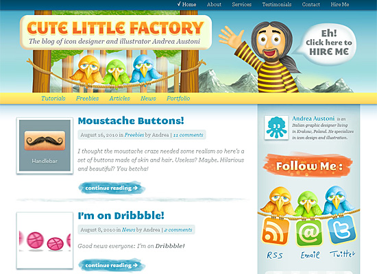 cutelittlefactory website design