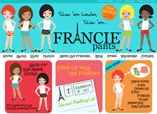 francie pants website design