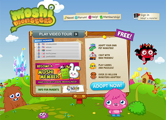 moshi monsters website design