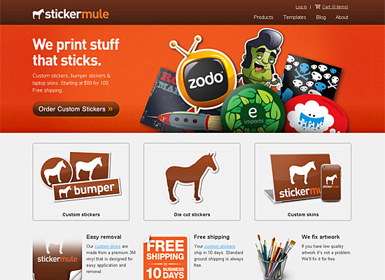 stickermule website design