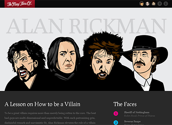 the many faces of alan rickman website design