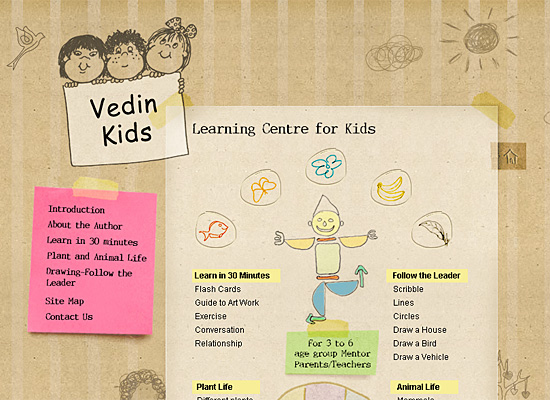 vedinkids website design