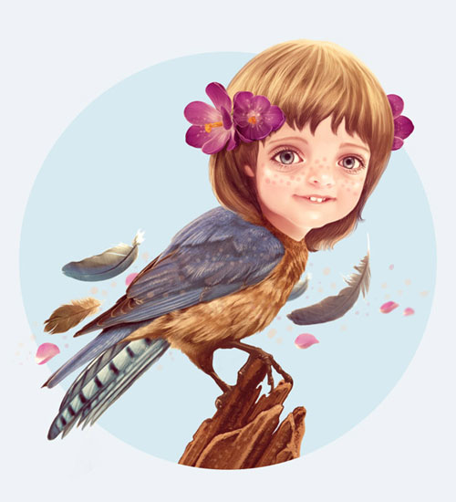 Create a Fantasy Girlbird Illustration in Photoshop
