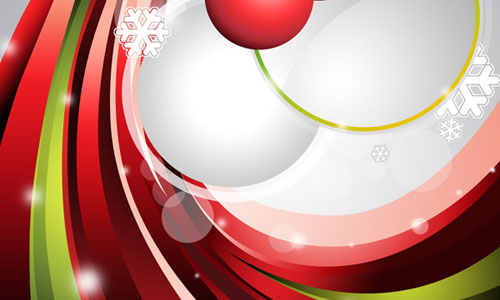How to design an abstract Christmas illustration with colorful shapes and glass baubles in Photoshop CS5