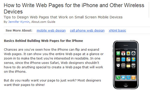 Basics Behind Building Web Pages for the iPhone