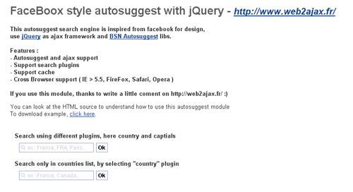 Facebook inspired autosuggest search with jQuery